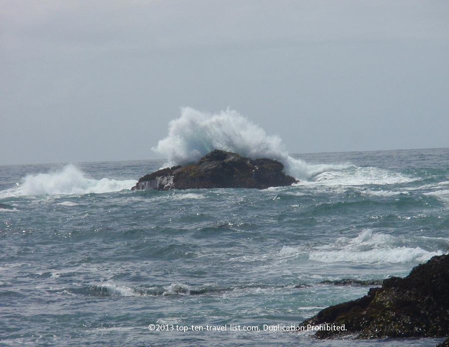 Beautiful views of the waves at SeaGlass Beach in Ft. Bragg, CA