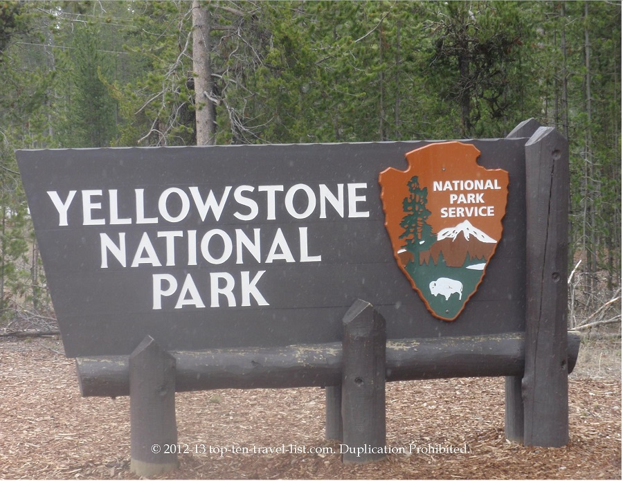 Yellowstone National Park entrance sign - Montana