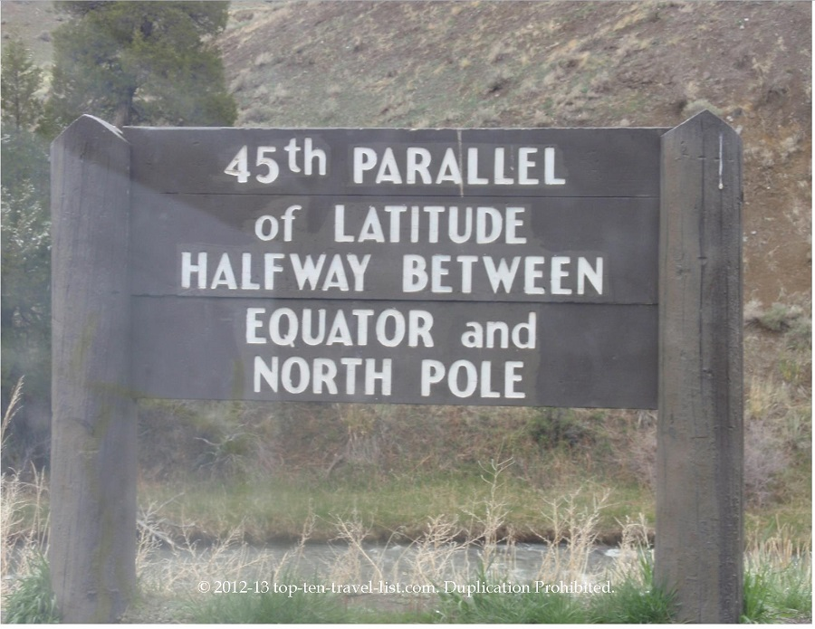 45th Parallel of Latitude sign at Yellowstone