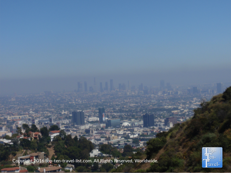 A view of the LA skyline from Runyon Canyon