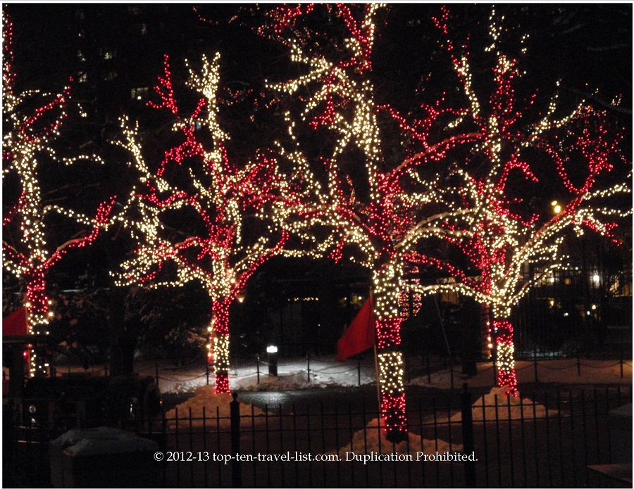 Candy cane holiday lighted trees at Lincoln Park Zoo
