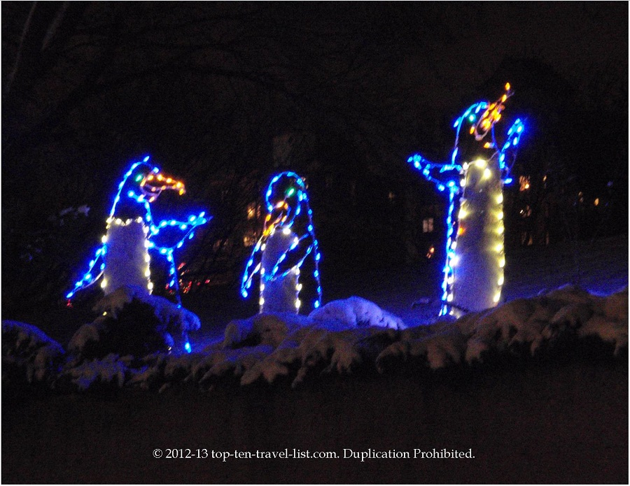 Penguin light display at Lincoln Park ZooLights