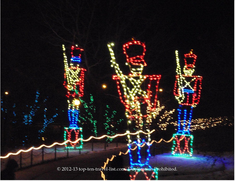 Toy soldiers light display at Lincoln Park ZooLights