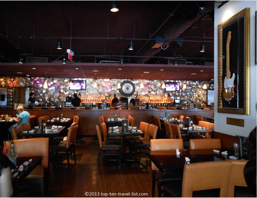 Cool interior of Hard Rock Cafe Boston