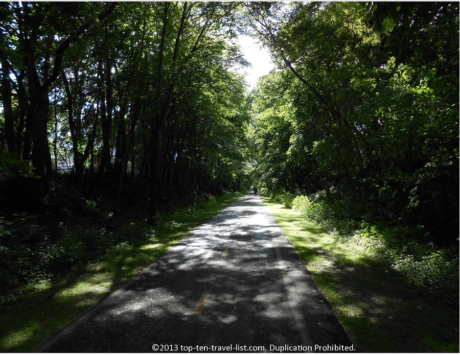 Heavily forested portion of the East Bay Bike Path in Rhode Island