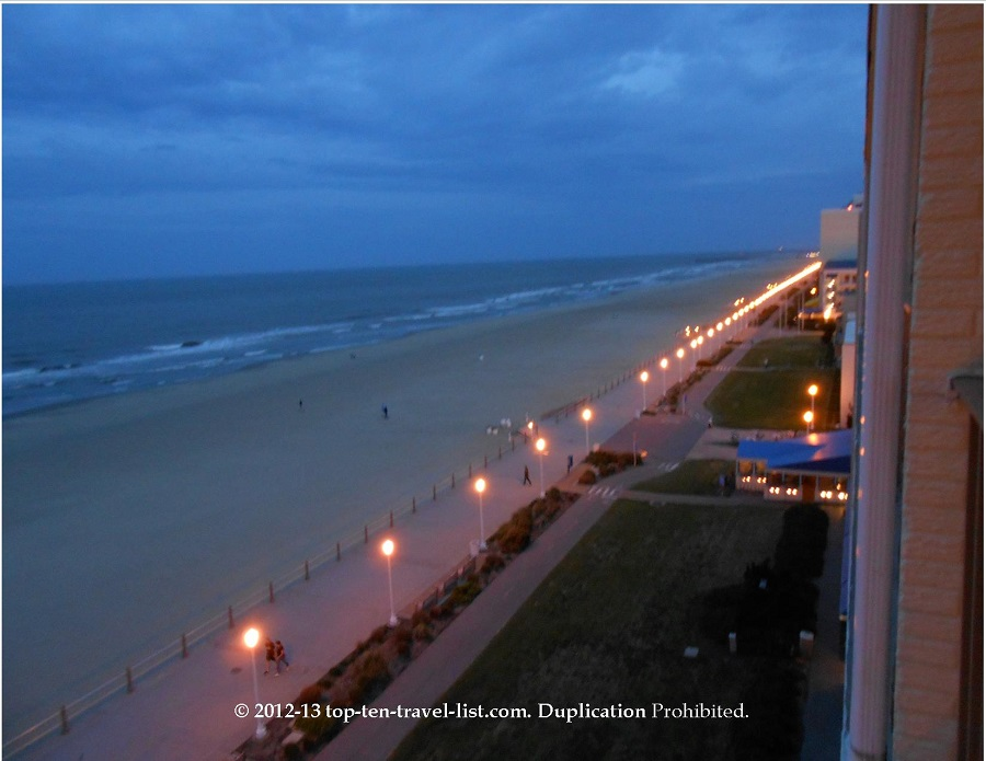 Virginia beach boardwalk and bike path at night