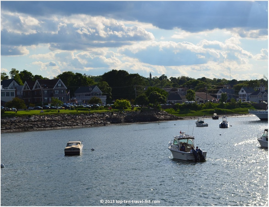 Scenic views of Plymouth Harbor from a whale watching cruise