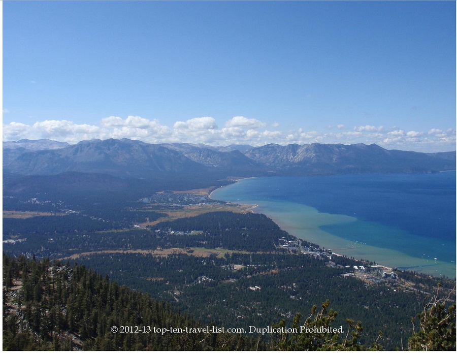 Views from observation deck Heavenly Village gondola ride in South Lake Tahoe, California