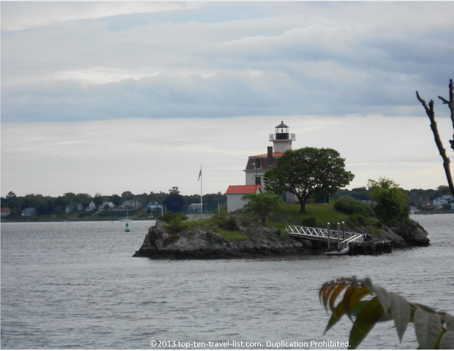 Pomham Rocks Lighthouse seen from the East Bay Bike Trail in East Providence, Rhode Island