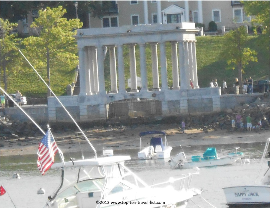 View of Plymouth Rock from a whale watching trip