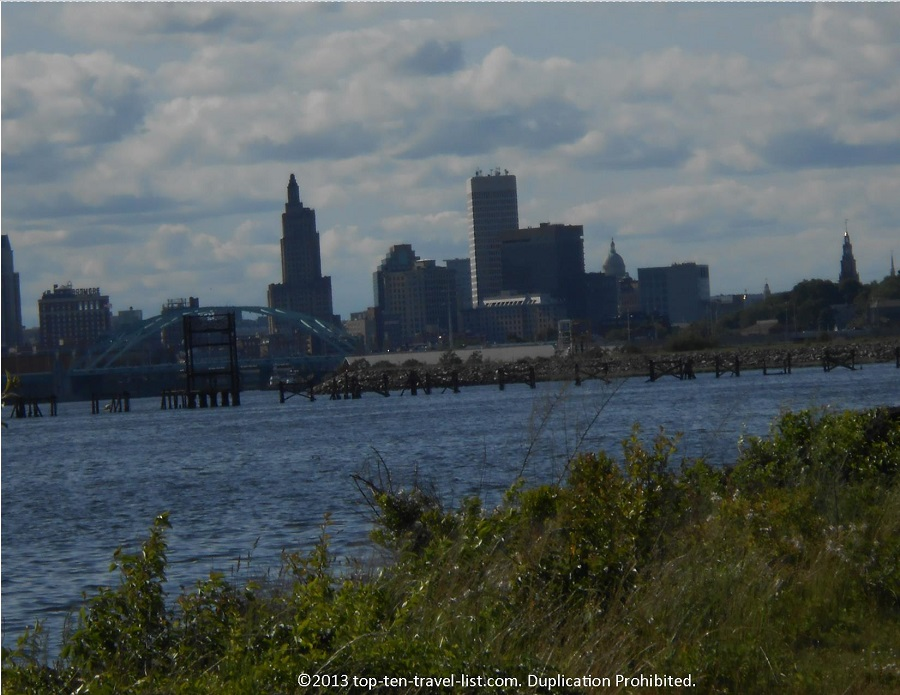 Providence, Rhode Island skyline seen from the East Bay Bike Path