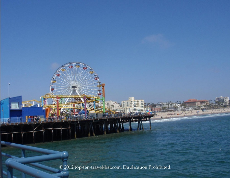 Santa Monica Pier - seen while biking on South Bay Bicycle Path - California