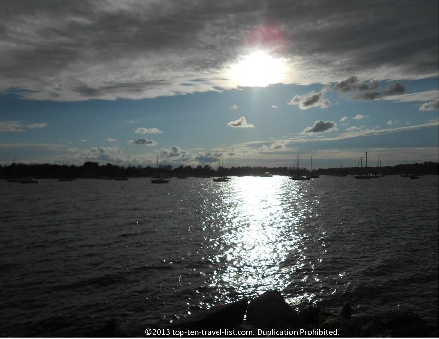 Scenic Bristol, Rhode Island at sunset