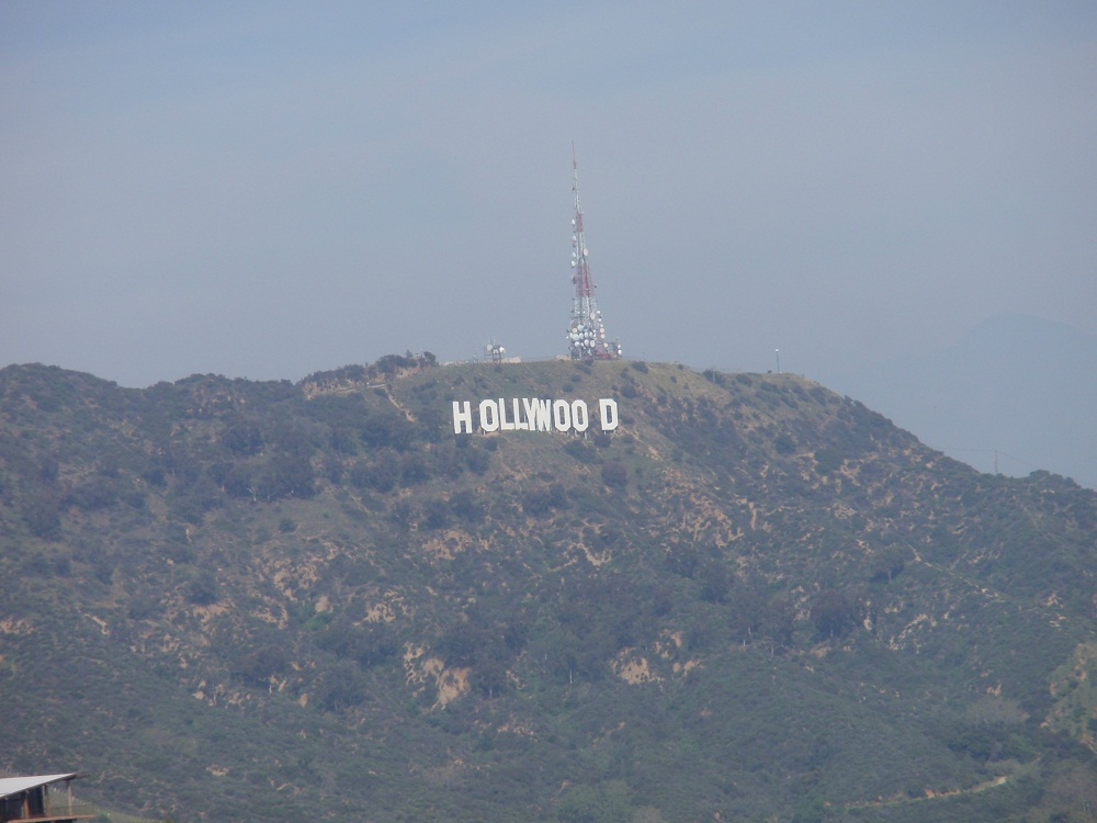 Views of the Hollywood Sign from the Griffith Observatory in Los Angeles, California
