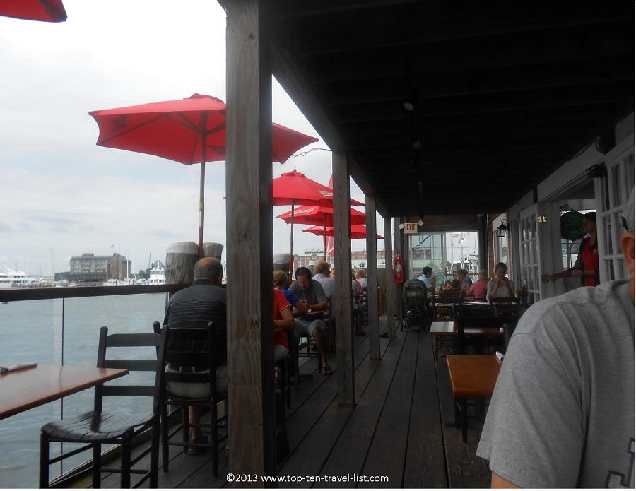 Outdoor deck at Aquidneck Lobster Bar - Newport, Rhode Island