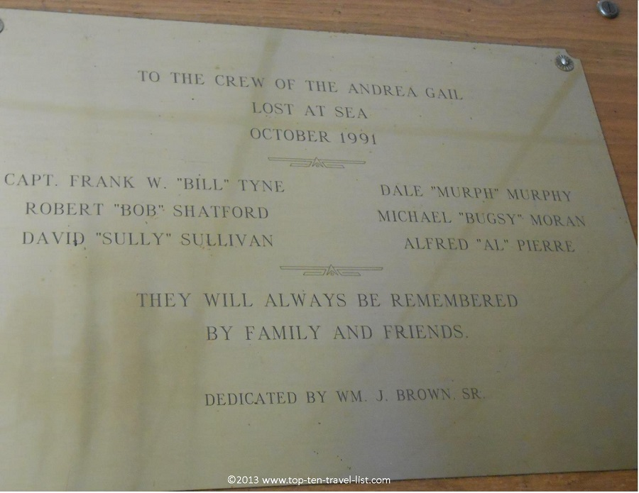 Plaque commemorating the crew of the Andrea Gail - The Perfect Storm- Crow's Nest - Gloucester, MA