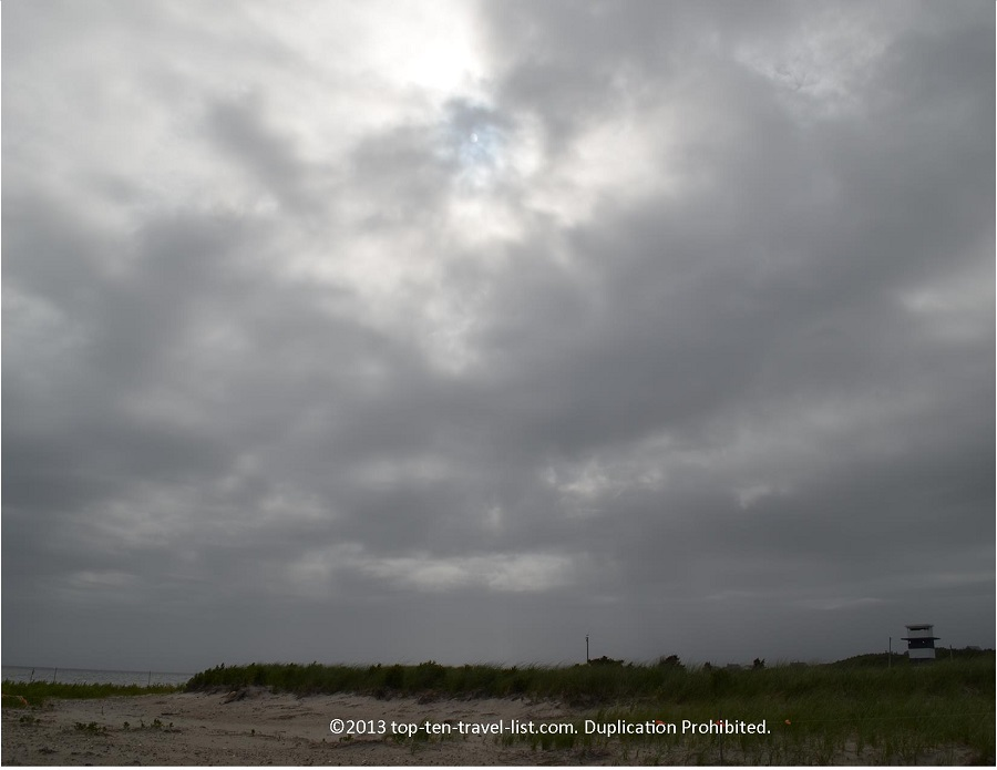 Cloudy skies at West Island Town Beach in Fairhaven, MA