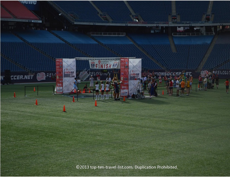 The Finish Line at Finish at the 50 5k race in Foxboro, MA