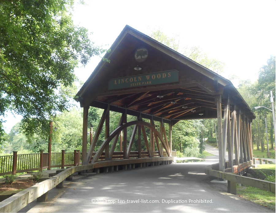 Lincoln Woods State Park covered bridge entrance - Lincoln, Rhode Island