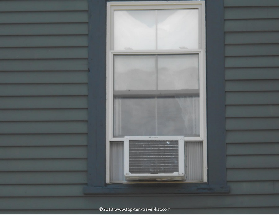Window where a ghost was spotted at the Lizzie Borden house in Fall River, Massachusetts