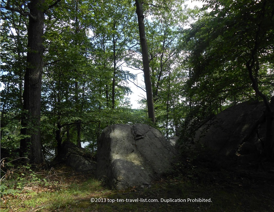 Scenic rocks at Lincoln Woods State Park in Lincoln, Rhode Island