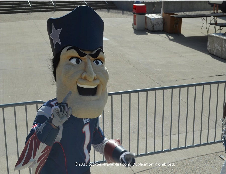 Patriots mascot at Finish at the 50 5k in Foxboro, MA