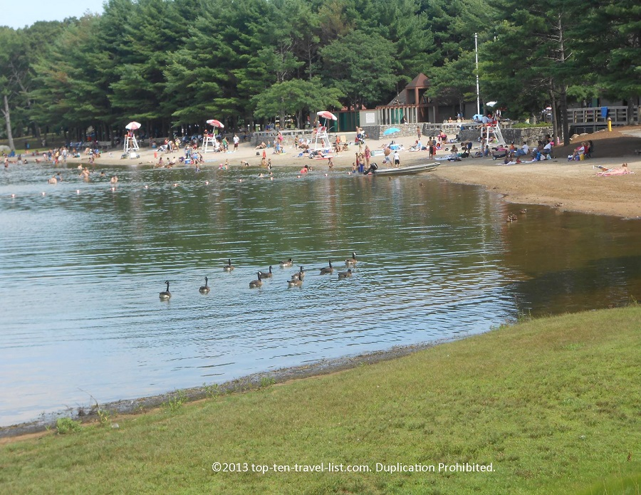 Beach at Lincoln Woods State Park in Lincoln, Rhode Island