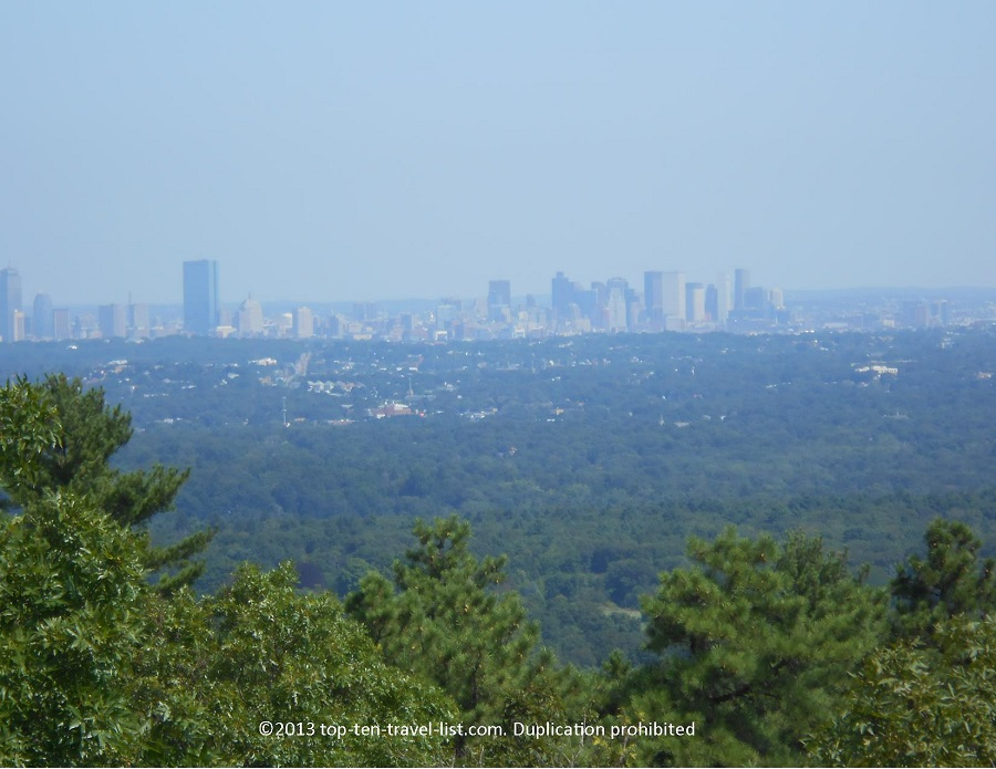 Views of the Boston skyline from Blue Hills Reservation in MA