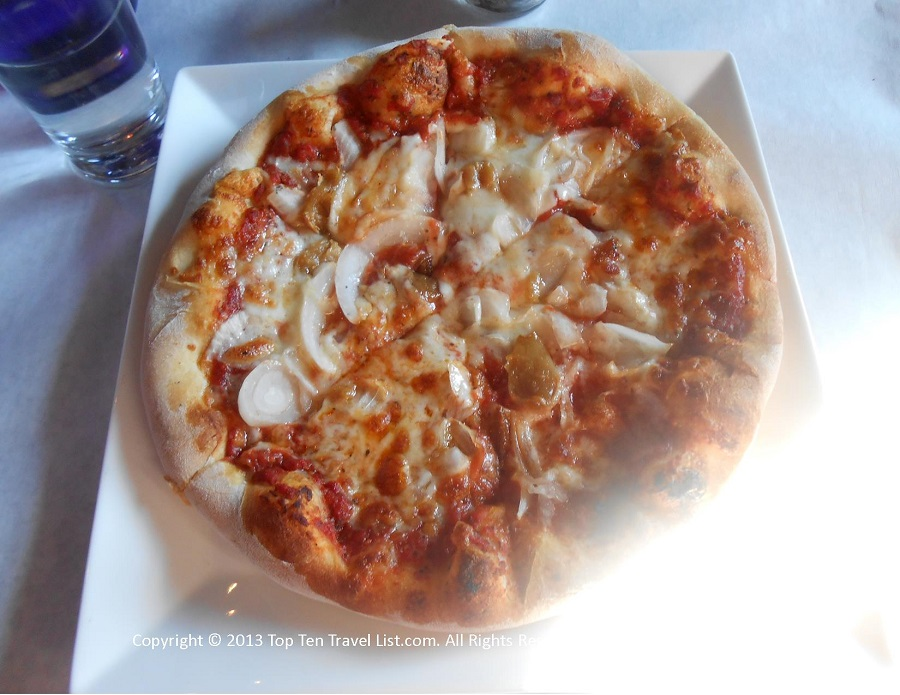 Onion and roasted garlic pizza at Bella Luna in Jamaica Plain, MA