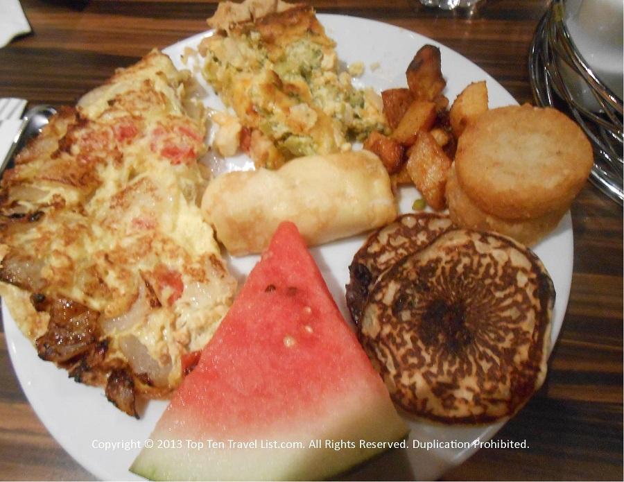 Breakfast plate at Seasons Buffet at Mohegan Sun in CT