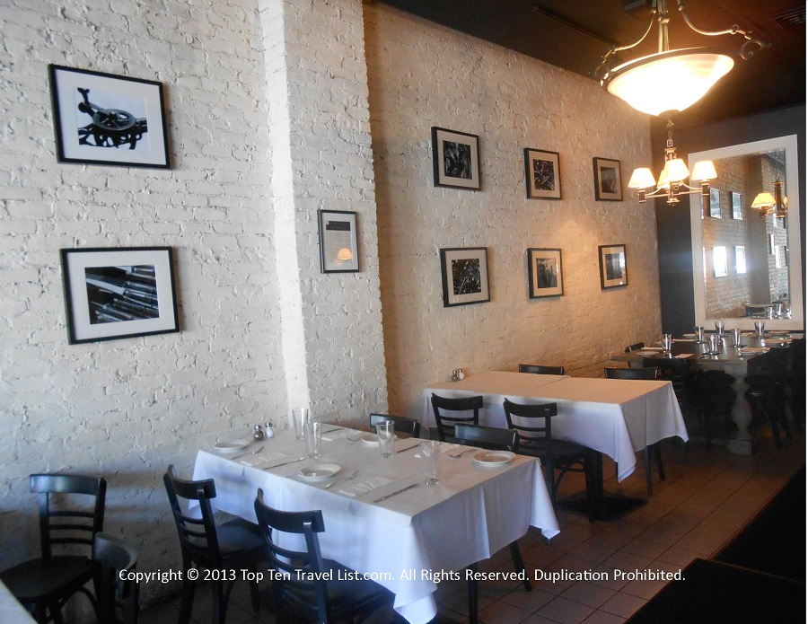 Nice brick walls and photography at Pizzico Ristorante in Providence, Rhode Island