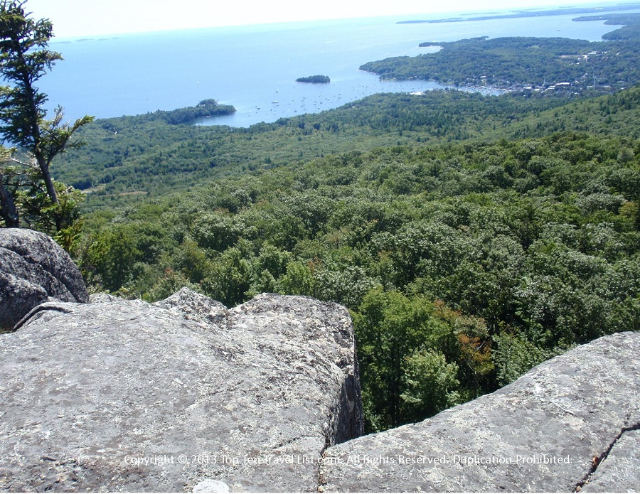 Views from a cliff at Camden Hills State Park in Camden, Maine