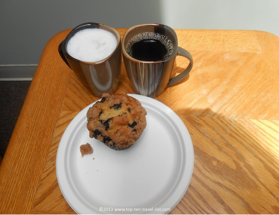 Coffee and a muffin at NU Cafe - Worcester, Massachusetts