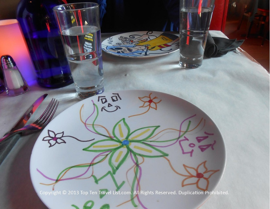 Hand painted plates at Bella Luna in Jamaica Plain, MA