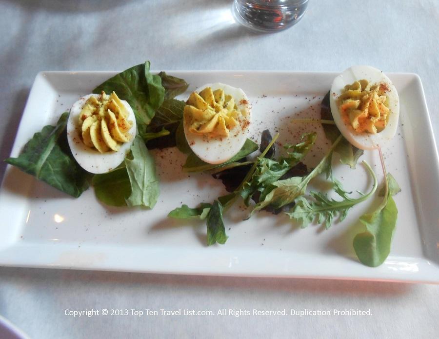 Deviled eggs at Bella Luna in Jamaica Plain, MA