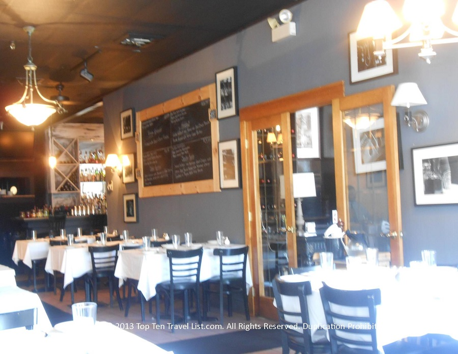 Stylish dining room at Pizzico Ristorante in Providence, Rhode Island