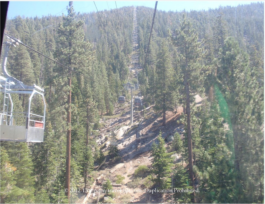Views up the Heavenly Village gondola ride - South Lake Tahoe, CA