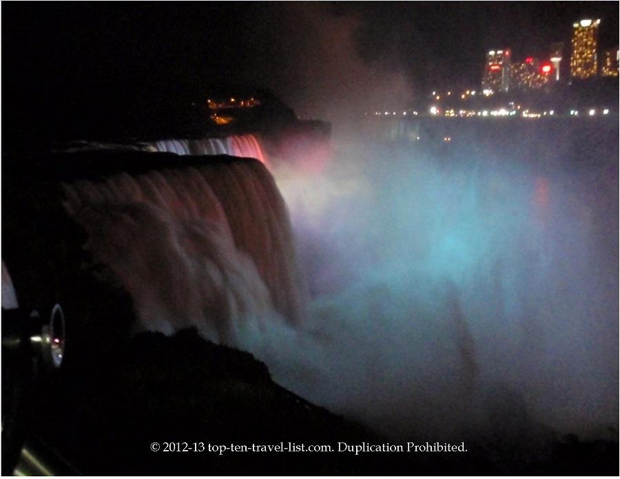 Illumination show in Niagara Falls