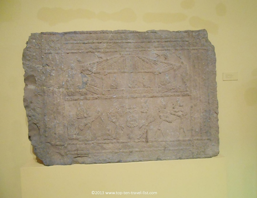Ancient stone slab at Worcester Art Museum in Massachusetts