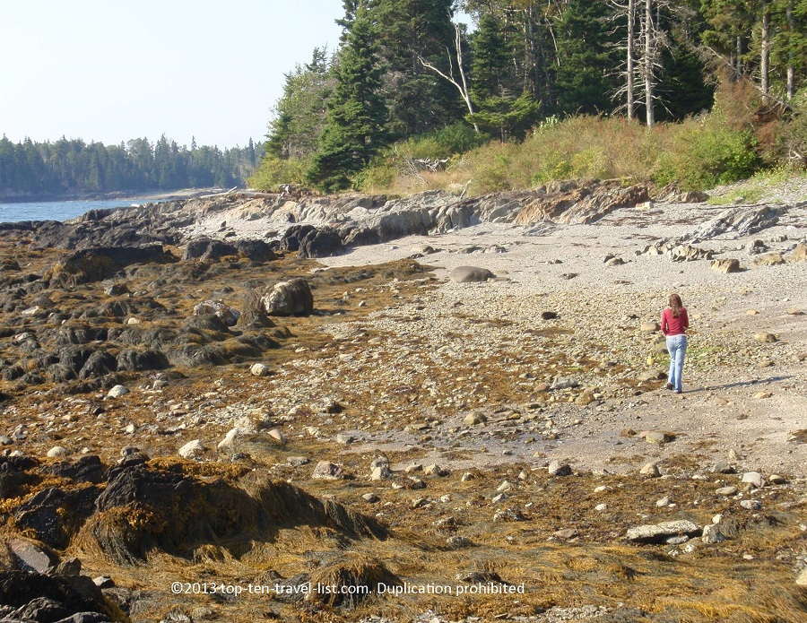 Searching for Sea Glass at an Islesboro, Maine beach
