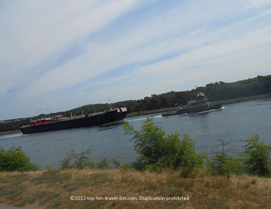 Tugboat seen on Cape Cod Canal bike path