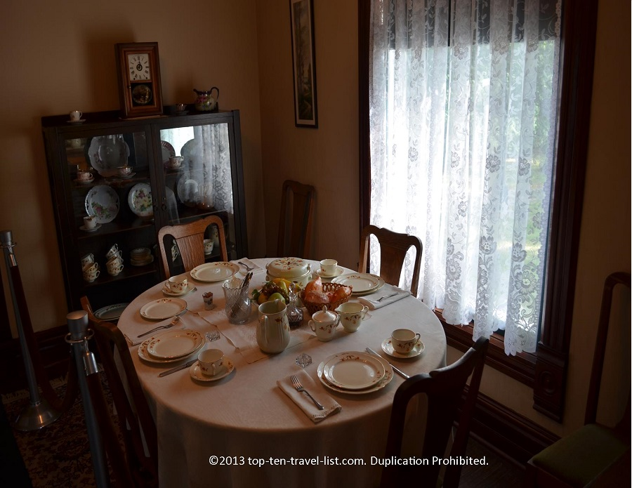 Dining room at Ronald Reagan house in Dixon, IL