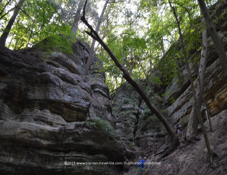 Exploring a canyon at Starved Rock State Park