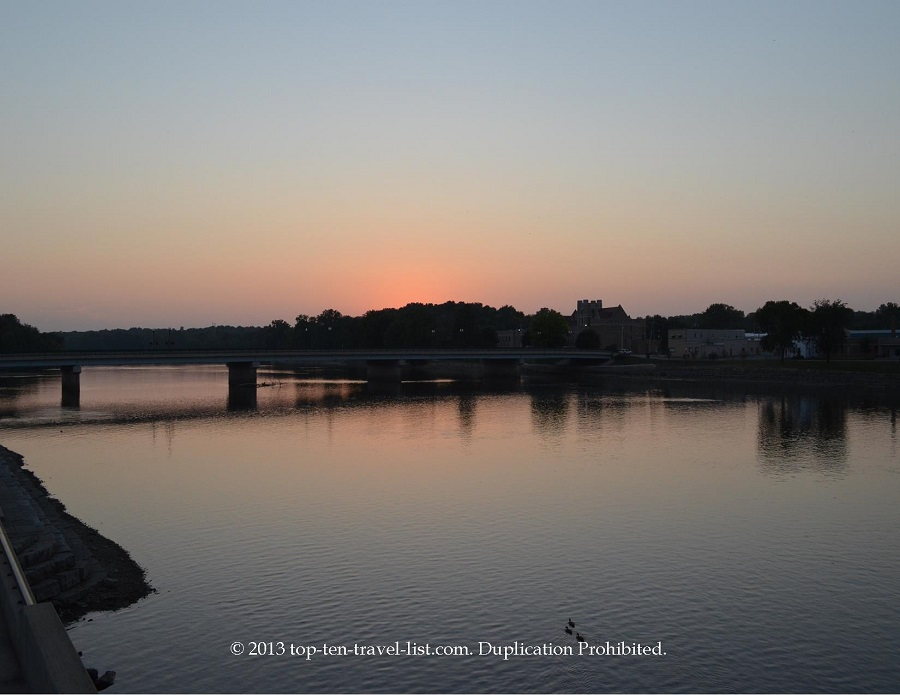 Scenic views of the Rock River at sunset in Dixon, IL