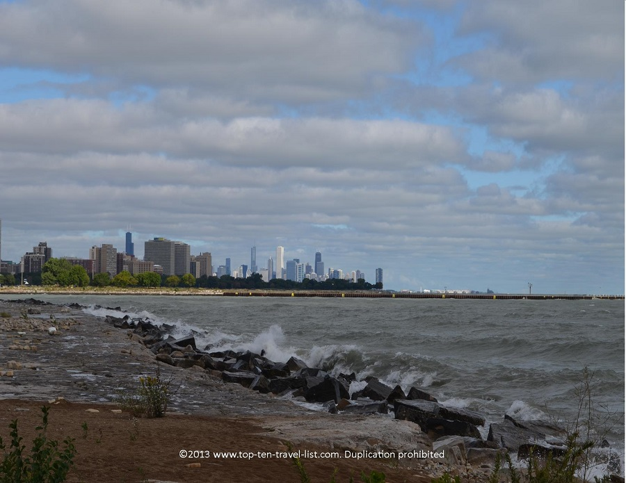Skyline and lake views along Chicago's Lakefront Path