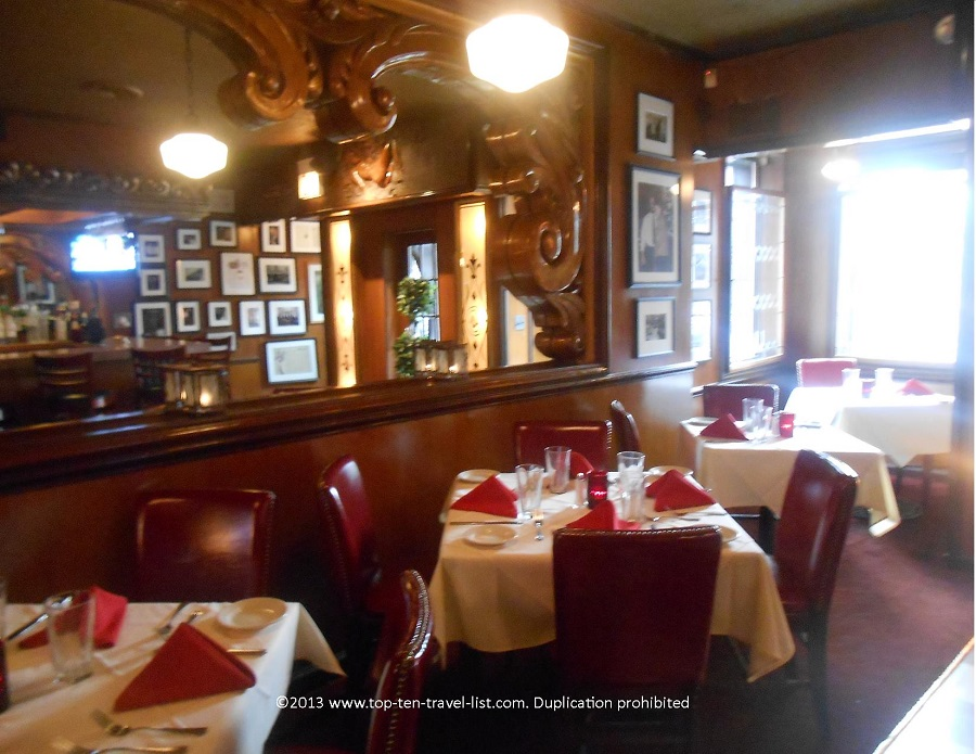 Dining room and memorabilia at The Rosebud in Chicago