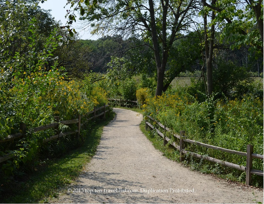 Path view at Little Red School House in Palos Heights, IL