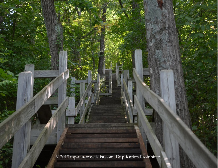 Staircase up to the Blackhawk statue at Lowden State Park