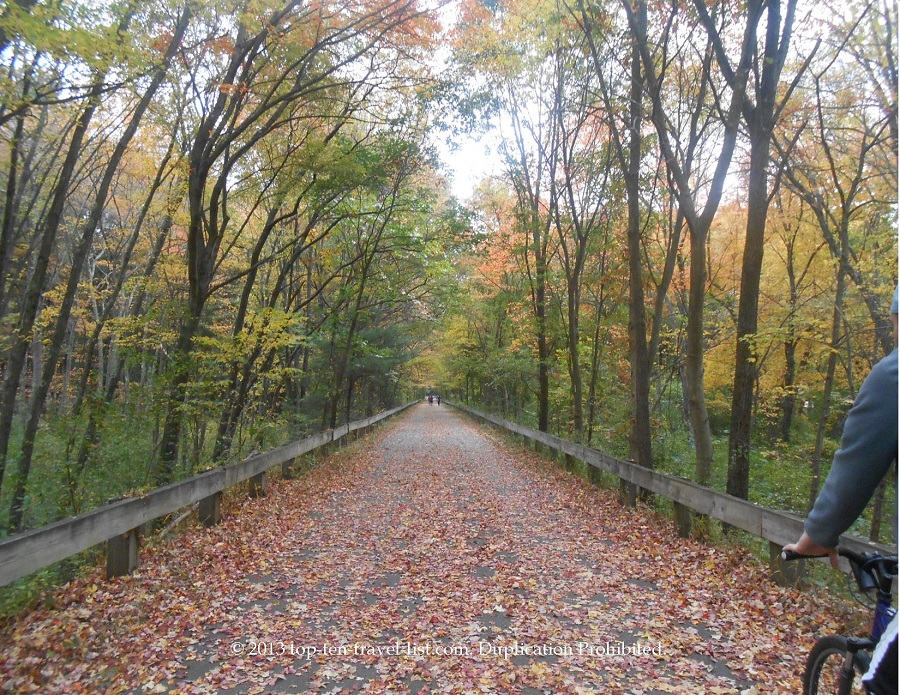 Fall colors on both sides of the Minuteman Bikeway in Massachusetts