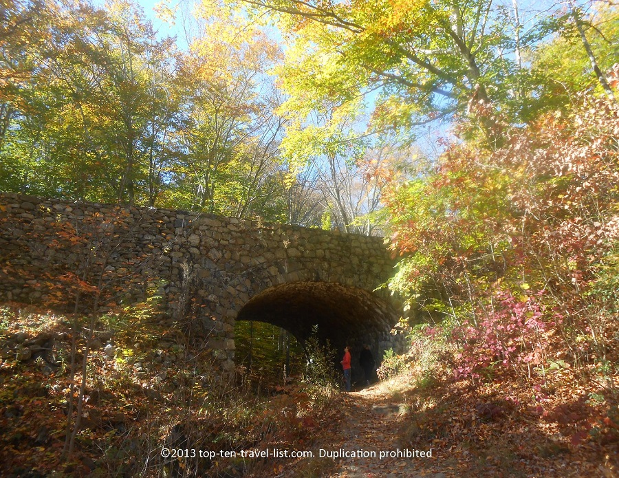 Old bridge with fall colors in East Haddam, CT